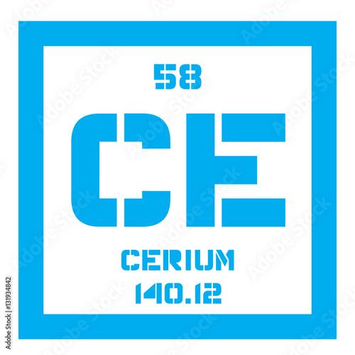 Cerium chemical element most common of the lanthanides colored cerium chemical element most common of the lanthanides colored icon with atomic number urtaz Images