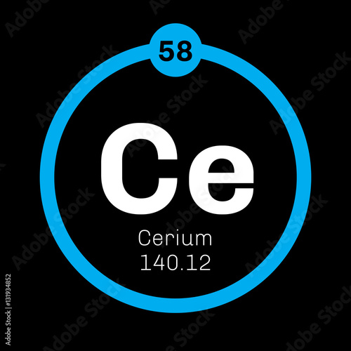 Cerium chemical element most common of the lanthanides colored cerium chemical element most common of the lanthanides colored icon with atomic number urtaz Image collections