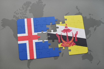 puzzle with the national flag of iceland and brunei on a world map