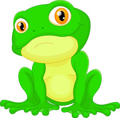 Green frog sitting cartoon