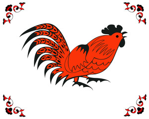 Red cock in a folk style