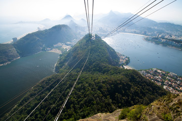 Bondinho raising the sugar loaf showing the cables