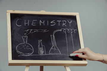 Blackboard with the chemical formula