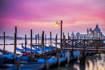 Gondolas at St. Mark's Square in Venice at sunset