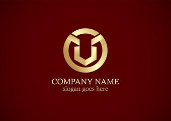 letter v round shape gold logo