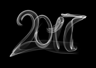 Happy new year 2017 isolated numbers lettering written with white fire flame or smoke on black background