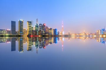 Shanghai skyline on the Huangpu River at night,China