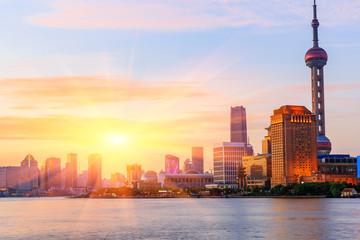 Shanghai skyline on the Huangpu River at sunset,China