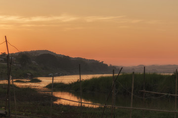 Mekong river landscape during sunset, lifestyle people along the