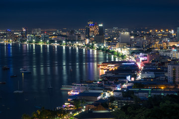 Pattaya city at night, Chonburi province, Thailand