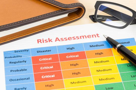 Risk management matrix chart with pen and organizer book
