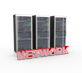 3d text network and computer network servers