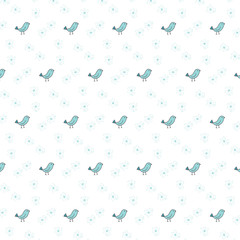 doodle cute bird theme pattern background