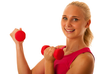 healthy lifestyle sport success - fit blond woman workout with d