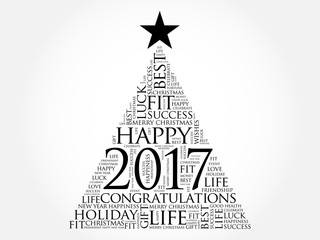 2017 year greeting word cloud collage, Happy New Year celebration word cloud card in the shape of a christmas tree