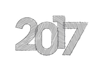 Abstract new year 2017, vector creative text scrawled in pen