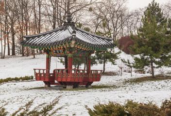 Korean traditional garden and pagoda in a public garden in Kiev