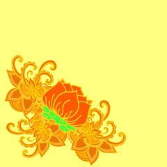 Abstract geometric border of leaves and flowers on a yellow background