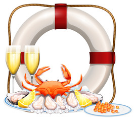 Seafood on plate and two glasses of champagne