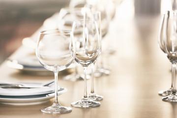 Served table in modern restaurant
