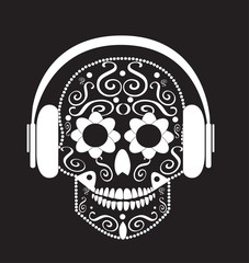 Skull vector with headphone beats background
