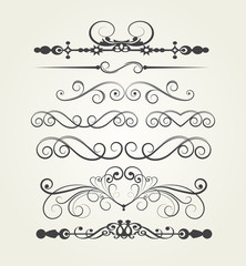 set. Victorian Scrolls. Decorative elements.