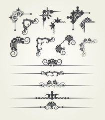 Vector set. Victorian corner, border. Decorative elements.