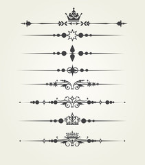 Vector set. Victorian Scrolls, dividers. Decorative elements.