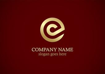round gold line letter c logo