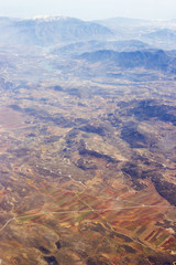 Aerial view of Spain with fields and mountains
