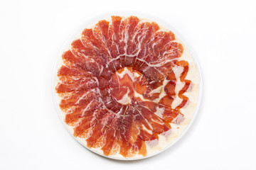 Plate with Iberian cut ham