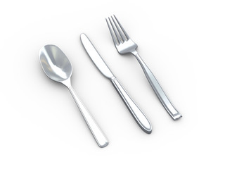 3d fork, spoon and knife