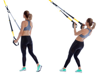 Suspension cable triceps kick back