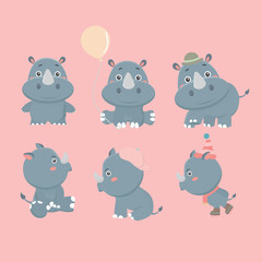 Set of different rhinoceroses.