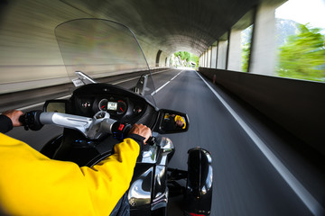 Chronicles of bikers or road adventure. Through the tunnel.