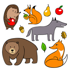 Set of vector simple animals drawing in kids stile. smiling wild mammals.