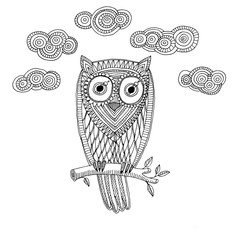 Decorative owl with cloud