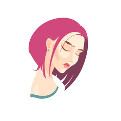 Vector portrait of sad girl with pink hair