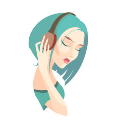 Vector sad girl with short  blue hair listening to music on head