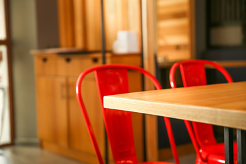 Blurred view of modern cafe interior