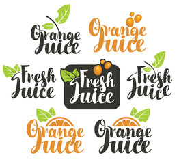 set vectors logo on fresh orange juice