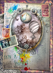Fantasy window in frame with hot air balloons and vintage stamps