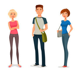 cute cartoon illustration of young people in casual fashion