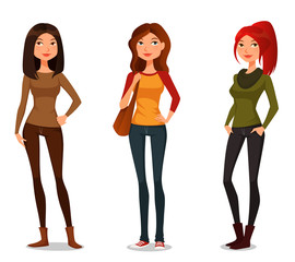 cute cartoon girls in autumn or spring fashion