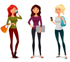 cute cartoon girls with mobile phone or laptop