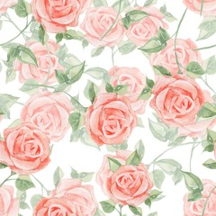 Romantic roses. Seamless floral pattern 14. Watercolor painting