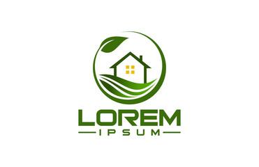 natural green eco home logo concept