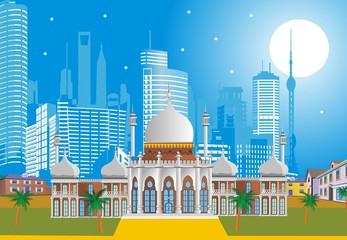 Arabic Palace on the background of the modern city.Vector illustration