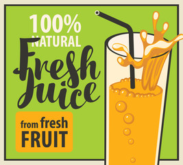 vector banner with a glass of fresh juice