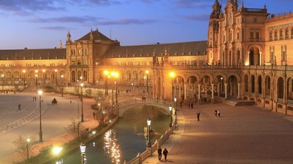 Fototapete - Plaza de Espana in the evening in Seville, Andalusia, Spain